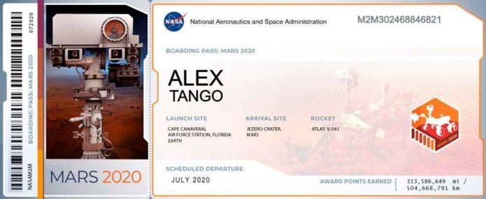 Billete para que mi nombre viaje a Marte con la NASA